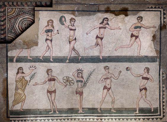 Fresque antiquité femmes pratiquant le sport